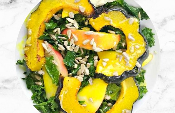 Kale and Squash Salad with Turmeric Dressing
