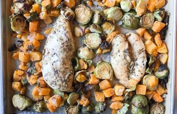 Sheet Pan Maple-Mustard Chicken With Squash And Brussels Sprouts