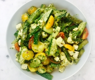 Tofu With Roasted Vegetables And Pesto